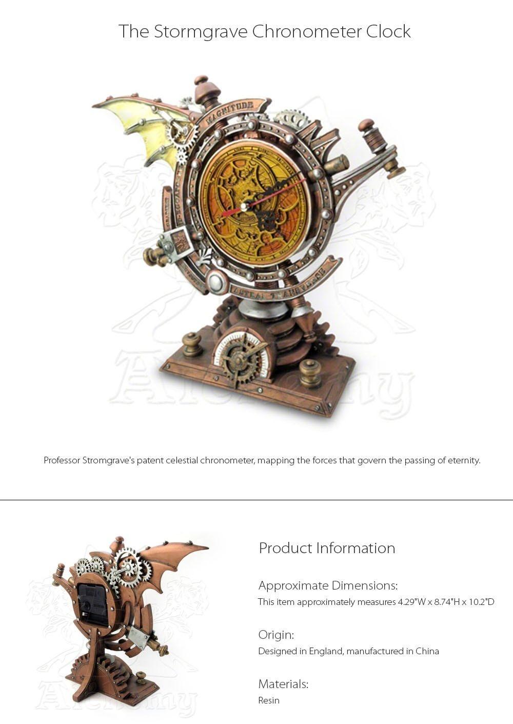 The Stormgrave Chronometer Clock Decorative Steampunk Clock