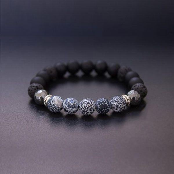 Men's Frosted Agate Stretch Bracelet
