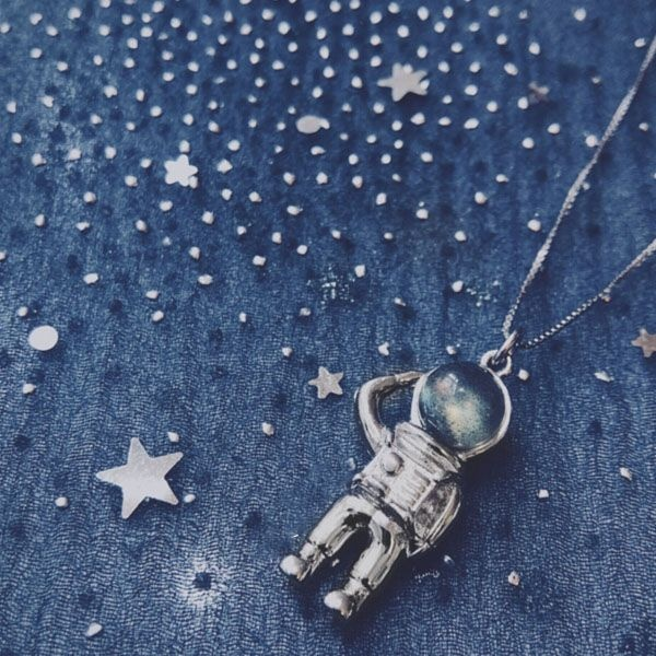 product thumbnail image for Moonstone Astronaut Necklace