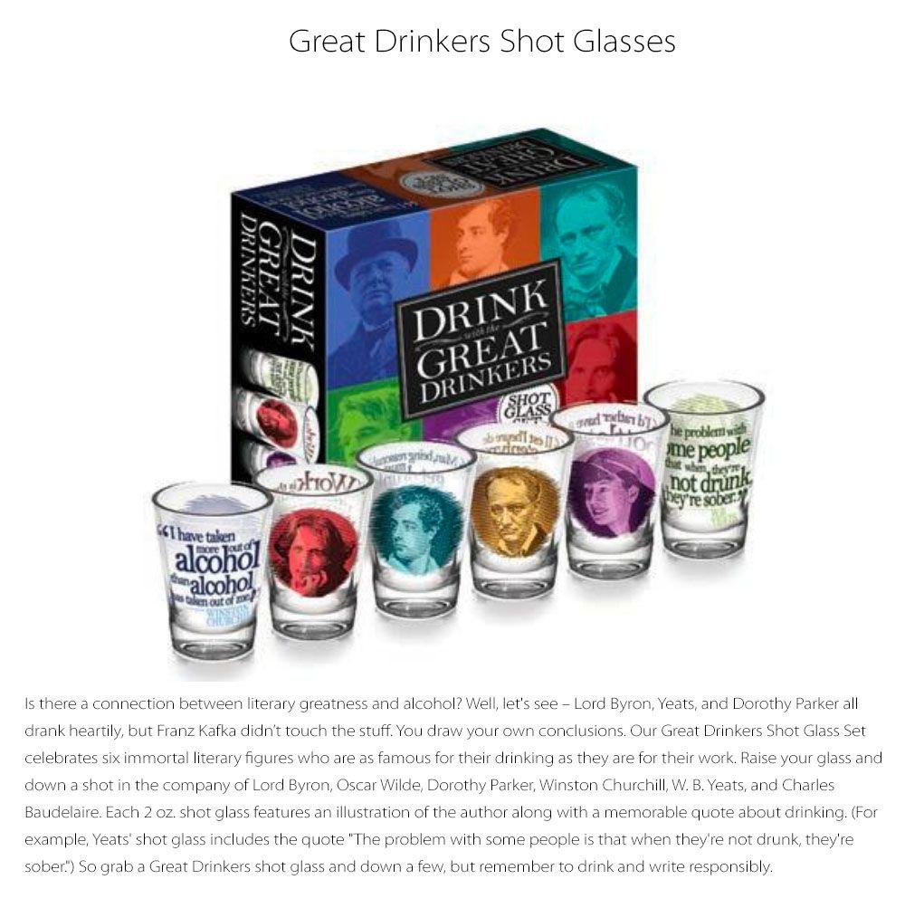 Great Drinkers Shot Glasses Meet Literary Figures