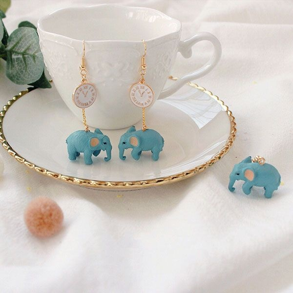 Lucky Blue Elephant Earrings