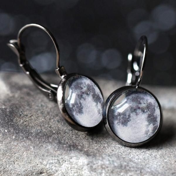 Birth Moon Earrings - Dangle or Stud Customized moon phase from your important date!