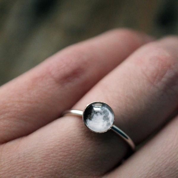 Custom Birth or Anniversary Moon Sterling Silver Ring