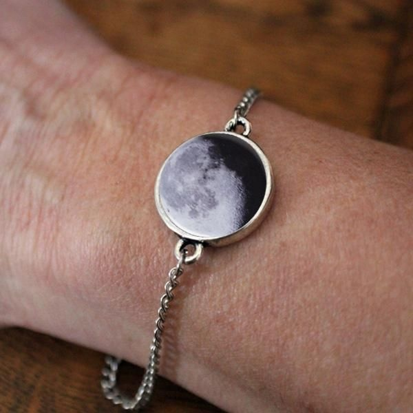 Birth Moon Antique Silver Adjustable Bracelet Customized moon phase from your important date!