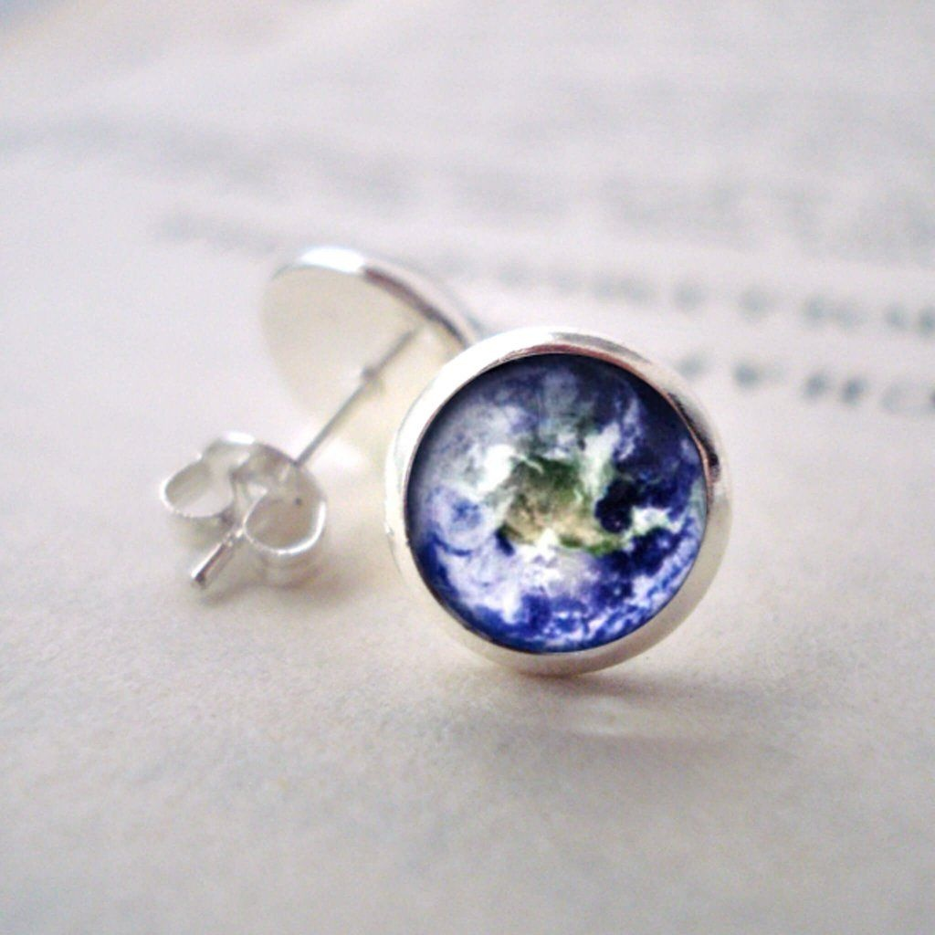Space Silver Stud Earrings