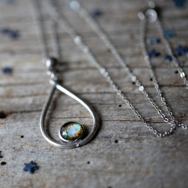 Silver Galaxy Teardrop Necklace