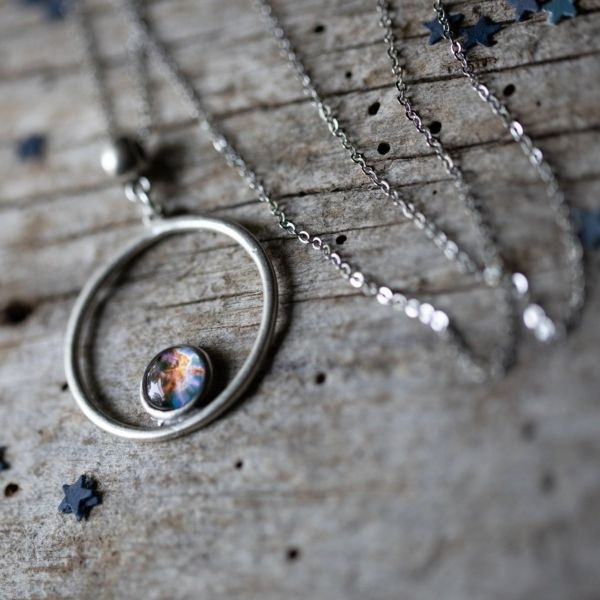 Silver Galaxy Circle Necklace
