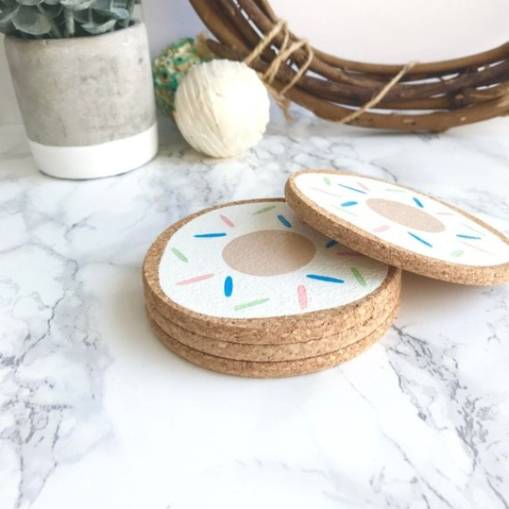 Donut Cork Coasters Set of 4