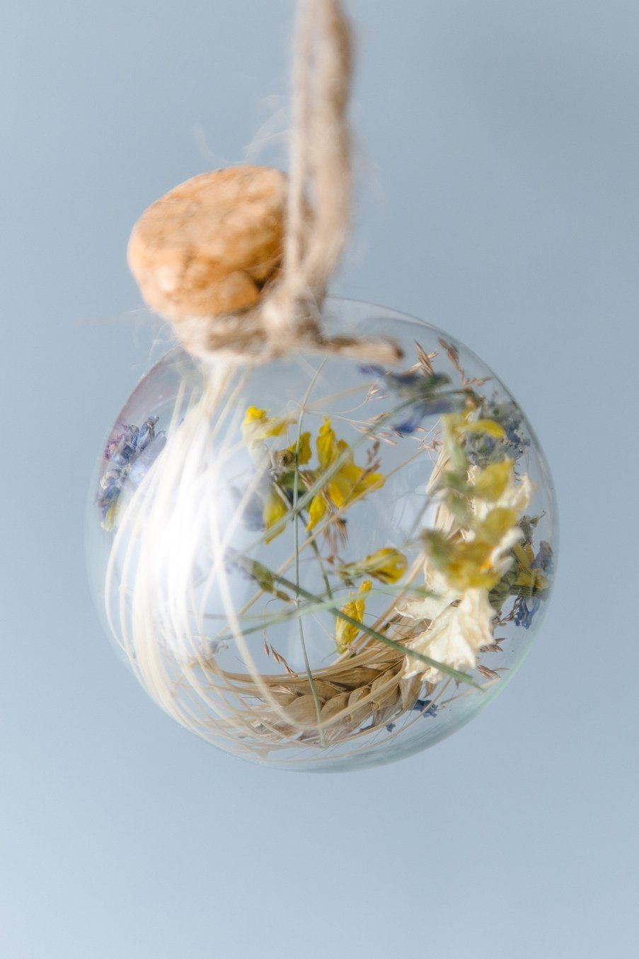 """""""Prosperous"""" Holiday Orb with real wheat, straw and natural glass"""