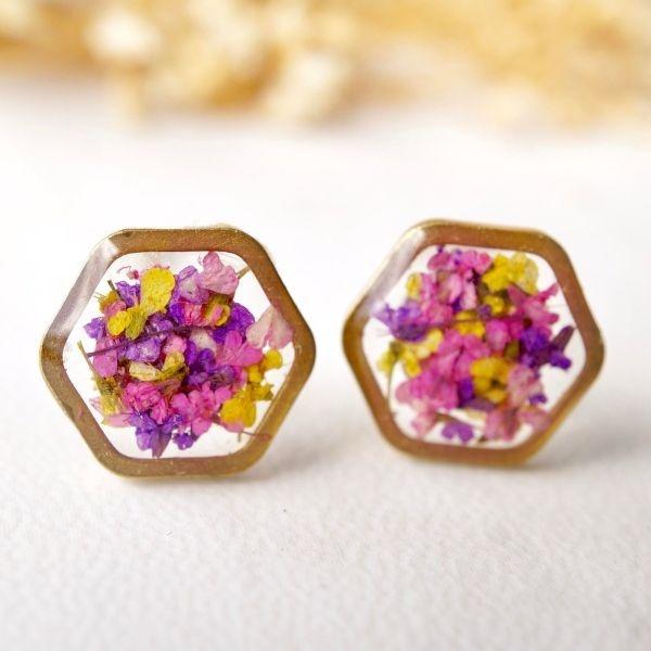 Gold Hexagon Resin Stud Earrings