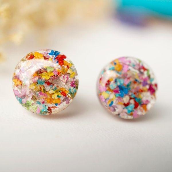 Resin Circle Stud Earrings