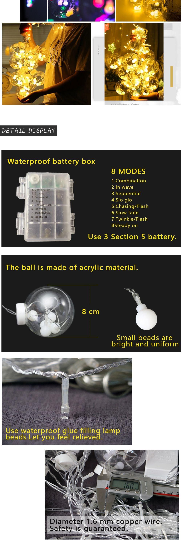 LED Globe Pendant Lights Romantic String Lighting