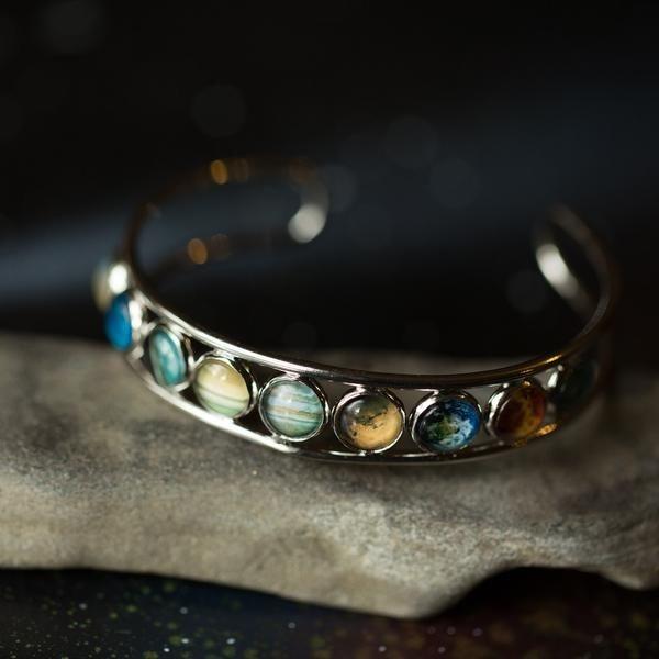 Solar System Silver Bangle Bracelet