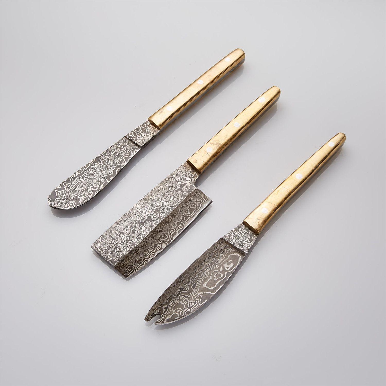 BRASS CHEESE DAMASCUS KNIFE SET // SET OF 3