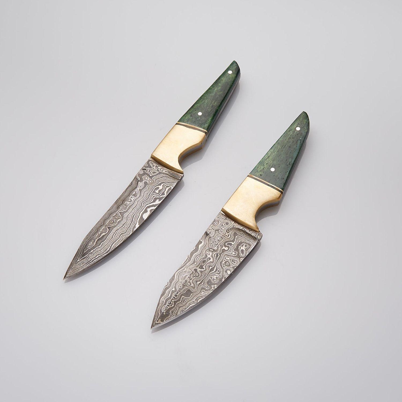 BONE + BRASS STEAK DAMASCUS KNIFE SET // SET OF 2