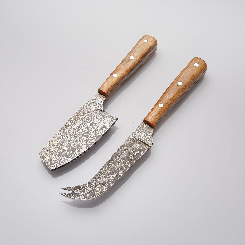 OLIVE WOOD CHEESE DAMASCUS KNIFE SET // SET OF 2