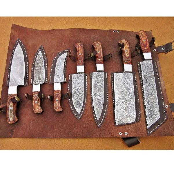 Damascus Custom--Handmade 7 pcs Chef Knife Kitchen set - Handle Made Of Wood