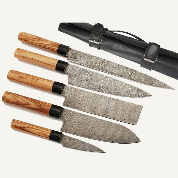 Damascus Knife Kitchen 5pc Professional Chef Knife Set Case Bag
