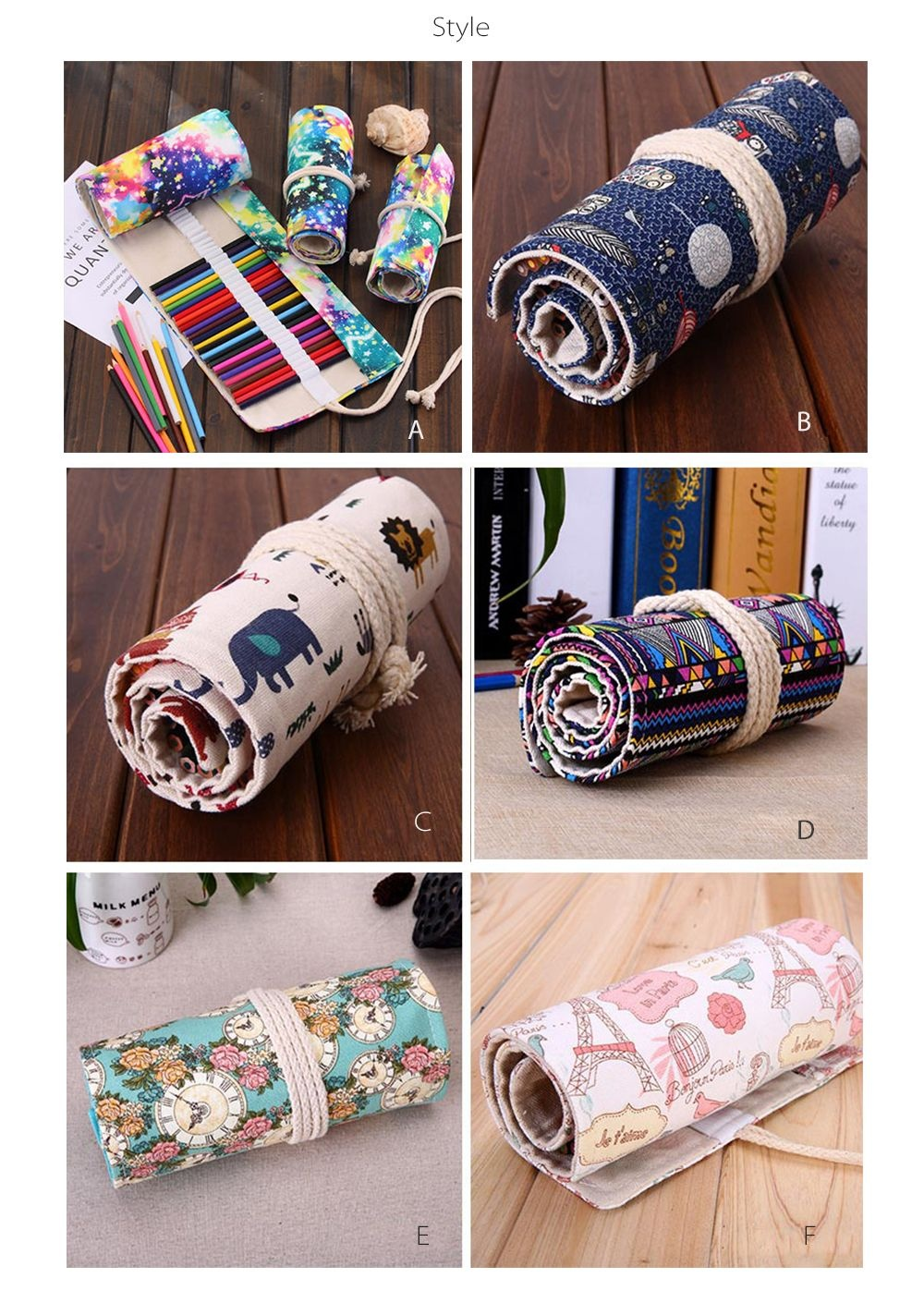 Canvas Pencil Wrapper Keep Pens Organized