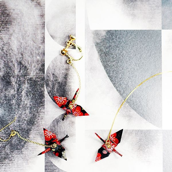 Japanese Style Paper Cranes Origami Earring (Single)