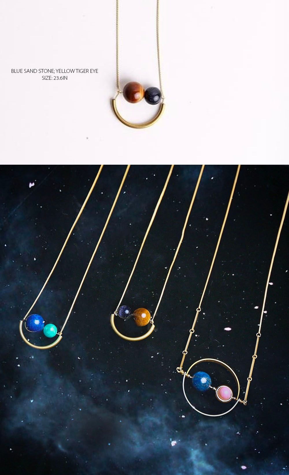 Smiling Planets Necklace Lucky Cosmos